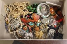 BOX LOT COSTUME JEWELRY INCLUDING BRACELETS, BEADED NECKLACES AND PINS