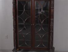 CARVED MAHOGANY BOOKCASE WITH FULL TURNED PILASTERS, 48