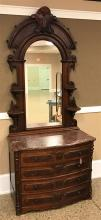 WALNUT VICTORIAN BOW FRONT 4 DRAWER DRESSER, WITH MARBLE TOP, RAISED DECORATIVE VENEER PANELS, 41