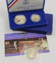 LOT INCLUDING ELLIS ISLAND LIBERTY COIN SET AND REPUBLIC OF MARSHALL ISLANDS FIRST MEN ON THE MOON $5 COMMEMORATIVE COIN
