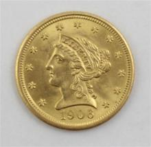 †U.S. GOLD 2 1/2 DOLLAR COIN, 1906, 4.2 GRAMS AND U.S. GOLD TYPE SET CASE. *tax exempt*