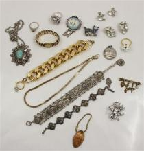 LOT COSTUME JEWERLY INCLUDING GOLDTONE AND SILVERTONE BRACELETS, CHAIN NECKLACES, CAT FIGURE, PENDANT AND MEDAL FROM PENNY, 3 PINS,...