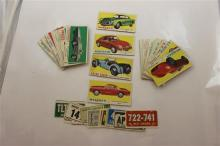 1961 TOPPS SPORTS CAR CARDS COMPLETE SET #1-66 PLUS 16 LICENSE PLATE STICKERS; CONDITION VARIES