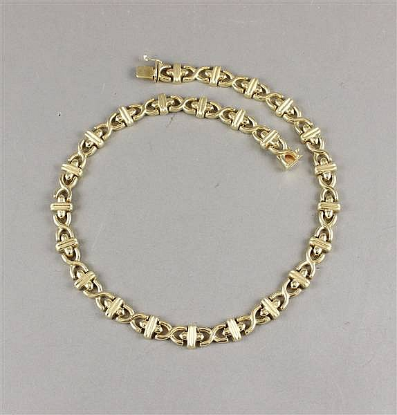 14K YELLOW GOLD BAR AND X LINK NECKLACE, 17