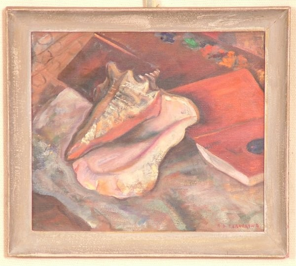 ROBERT O CHADEAYNE (1897-1981 COLUMBUS, OH)  OIL ON CANVAS STILL LIFE W/SHELL & BOOK, SIGNED 14 1/2
