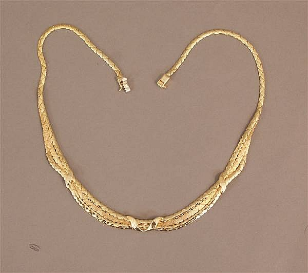 14 K YELLOW GOLD ORNATE SWAG DESIGN NECKLACE
