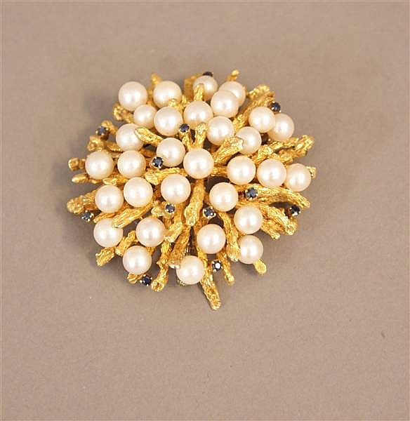 14 K YELLOW GOLD PEARL AND BLUE SAPPHIRE BROOCH WITH CORAL BRANCH DESIGN