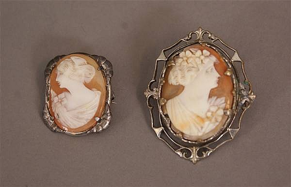 (2) SILVER TONE FRAMED CARVED CAMEO PINS