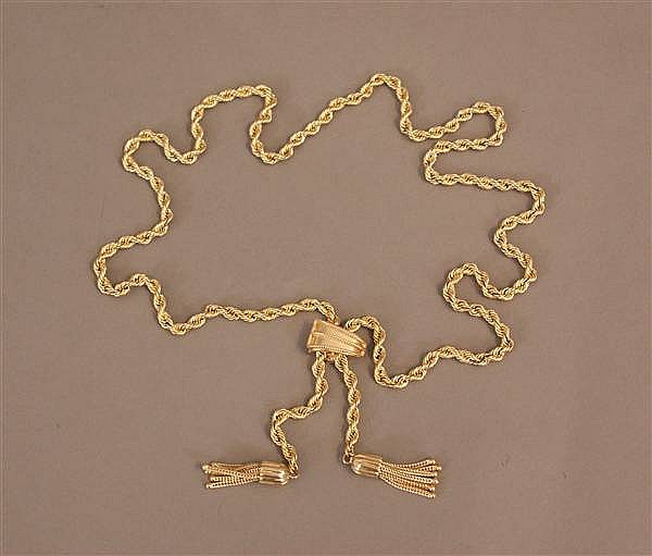 14 K YELLOW GOLD TASSELED ROPE CHAIN NECKLACE WITH HINGED ADJUSTABLE ACCENT