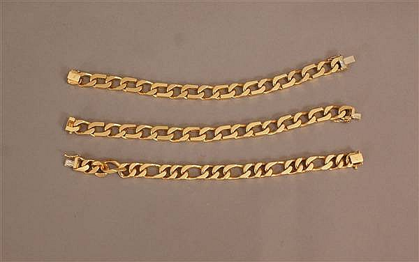 (3) 21 K YELLOW GOLD HEAVY CURB AND FIGARO CHAIN BRACELETS