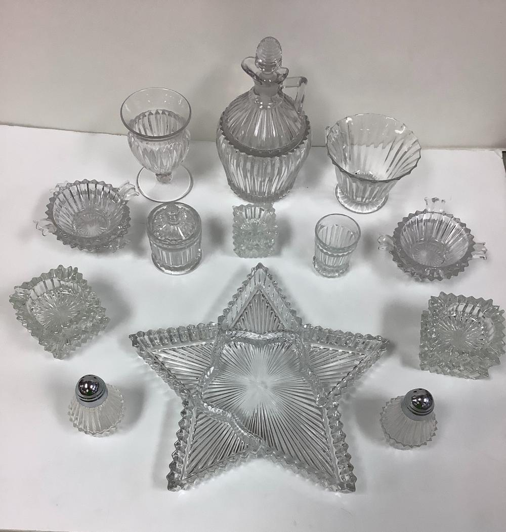 18 Pieces of Heisey Ridgeleigh, including decanter and star shaped dish.