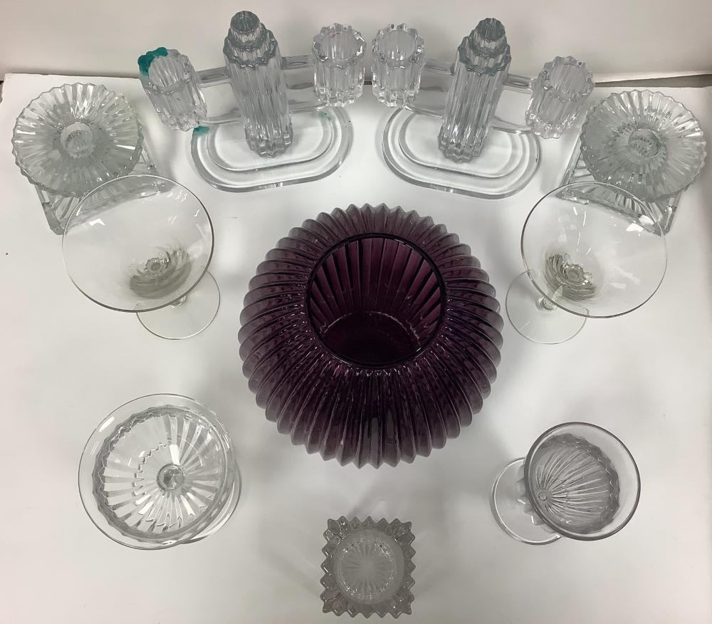 10 Pieces of Heisey Ridgeleigh, including purple ball vase.