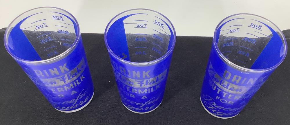 3 Golden Flake Buttermilk 8 oz advertising glasses.