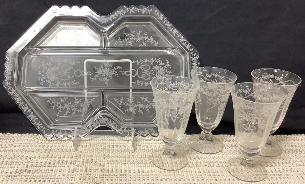 """3 light candelabra 11"""" tall, Fostoria glass Co. Corsage clear etched glass and relish tray, glasses 5"""" tall, relish tray 9"""" x 13"""". Crystal hanging strand 67"""" long."""