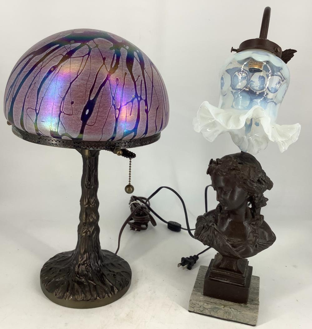 """2 Electric table lamps, 17"""" high and 19"""" high."""