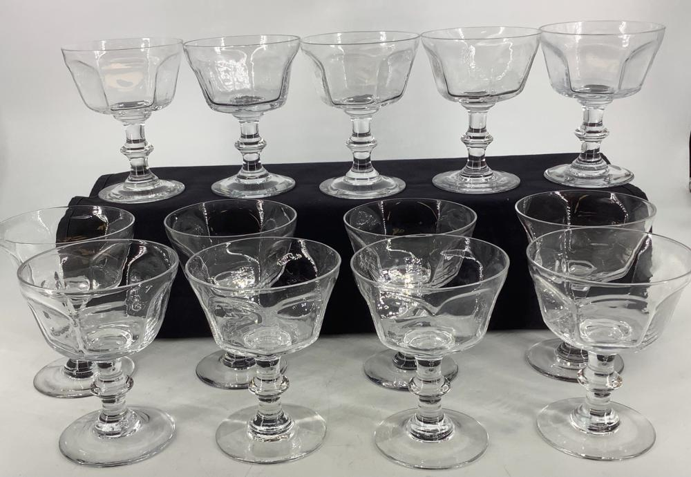 (13) Stemed Champagne sherbets Antique Pattern, all signed Lenox.