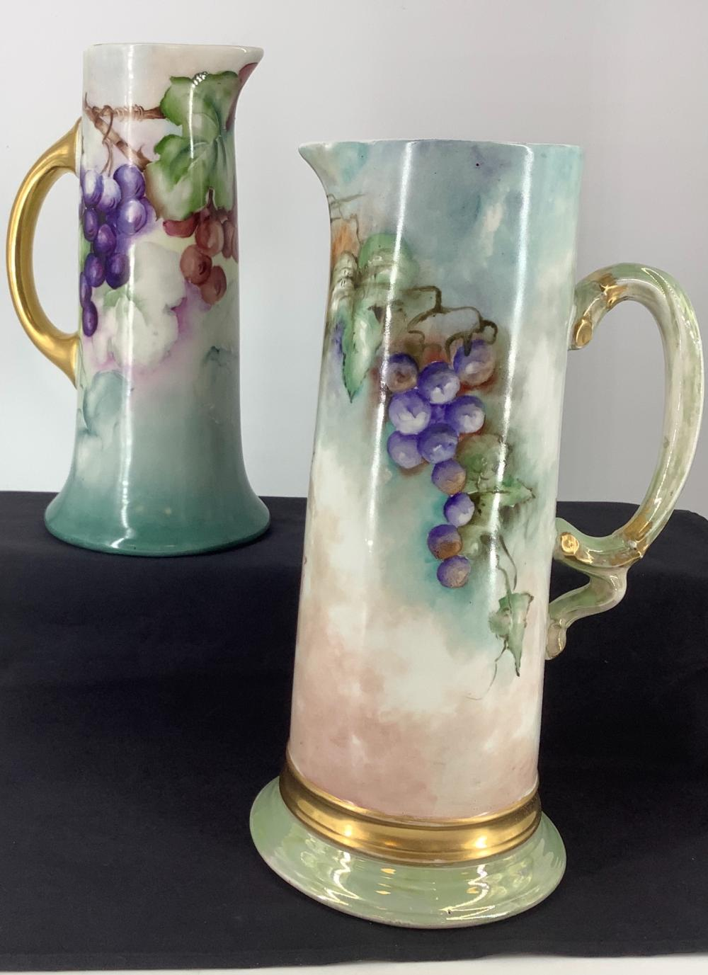 """2 J.P.France Limoges 11"""" Pitcher HP and 13.5"""" Pitcher Tankard."""