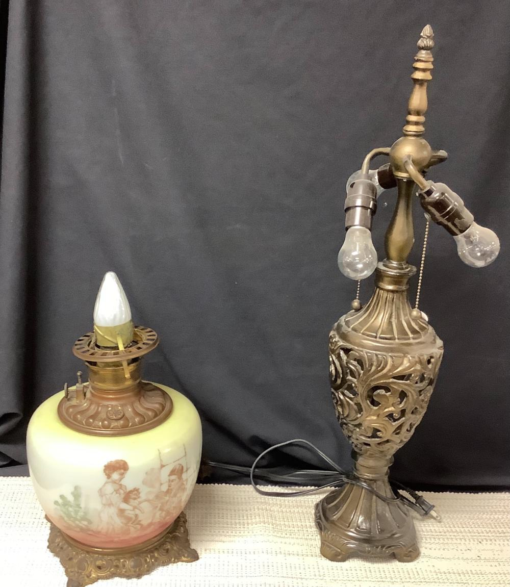 2 Electric lamps ,no shades.