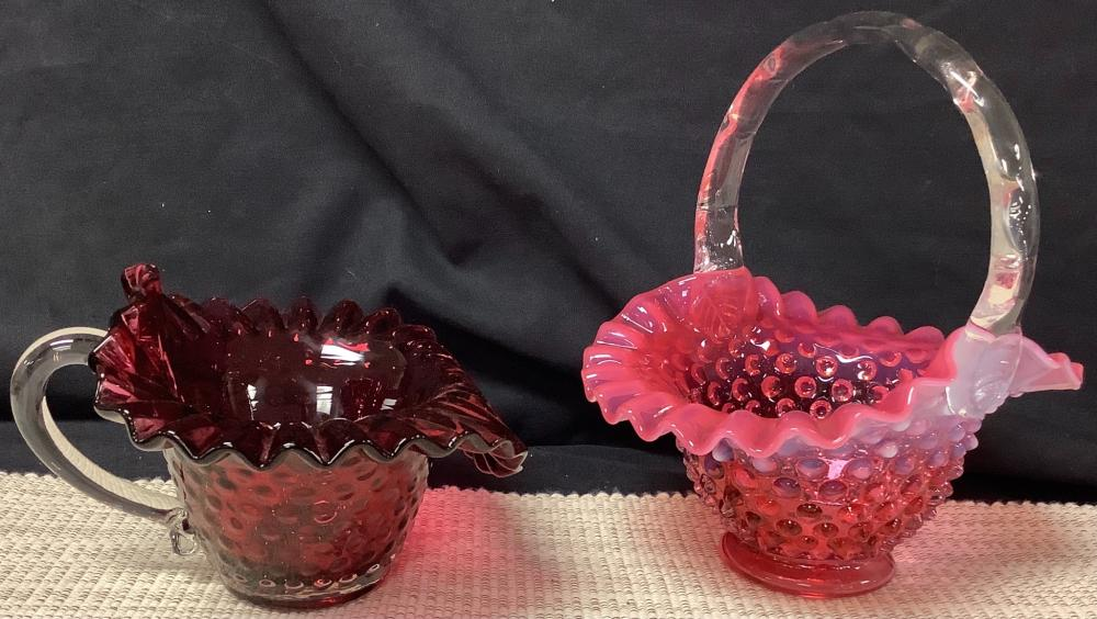 """Lot of 6 Fenton pieces. Ranging from 4 1/4""""- 8""""."""