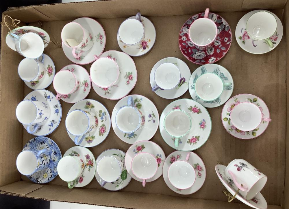 Lot of Shelley China, 21 mini cups and saucer with 15 mini stands.