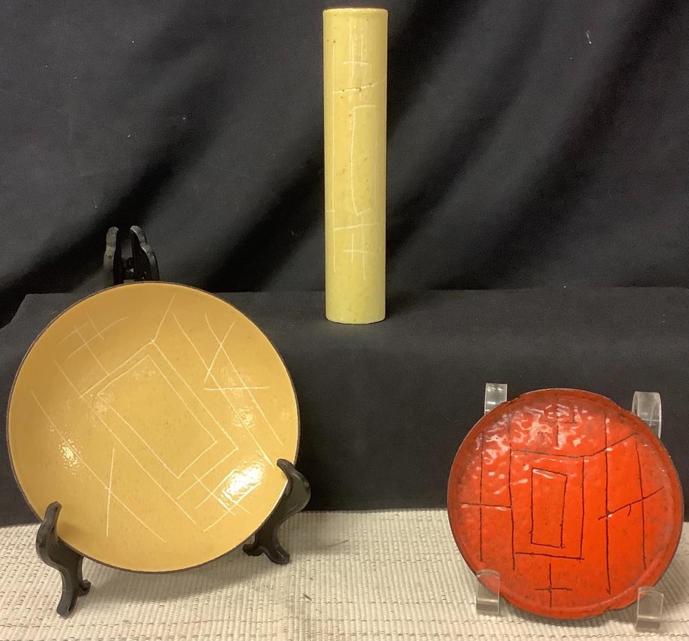 "3 pieces Vallenti (Italy) mid century including bowl, ashtray & cylinder vase. Bowl 6 3/8"", ashtray 4 3/4"" & vase 7 7/8"""