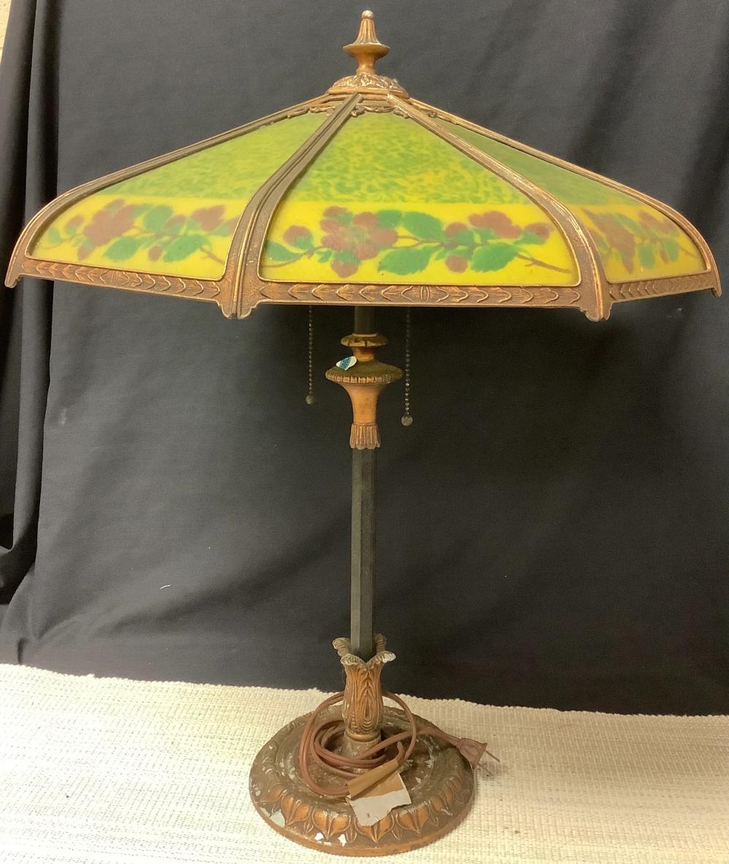 "1920 Reverse paneled electrified Green slag table lamp, 21"" shade."