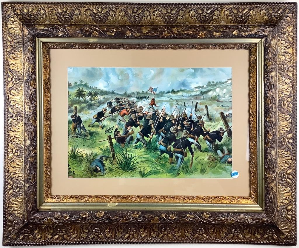 """Civil War battle print in wide gold tone frame 32.25"""" by 40"""""""
