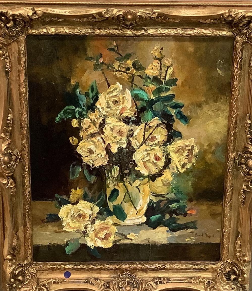 """Oil on canvas impasto floral still life Carol Hag? 27 1/2"""" x 30 1/2""""."""