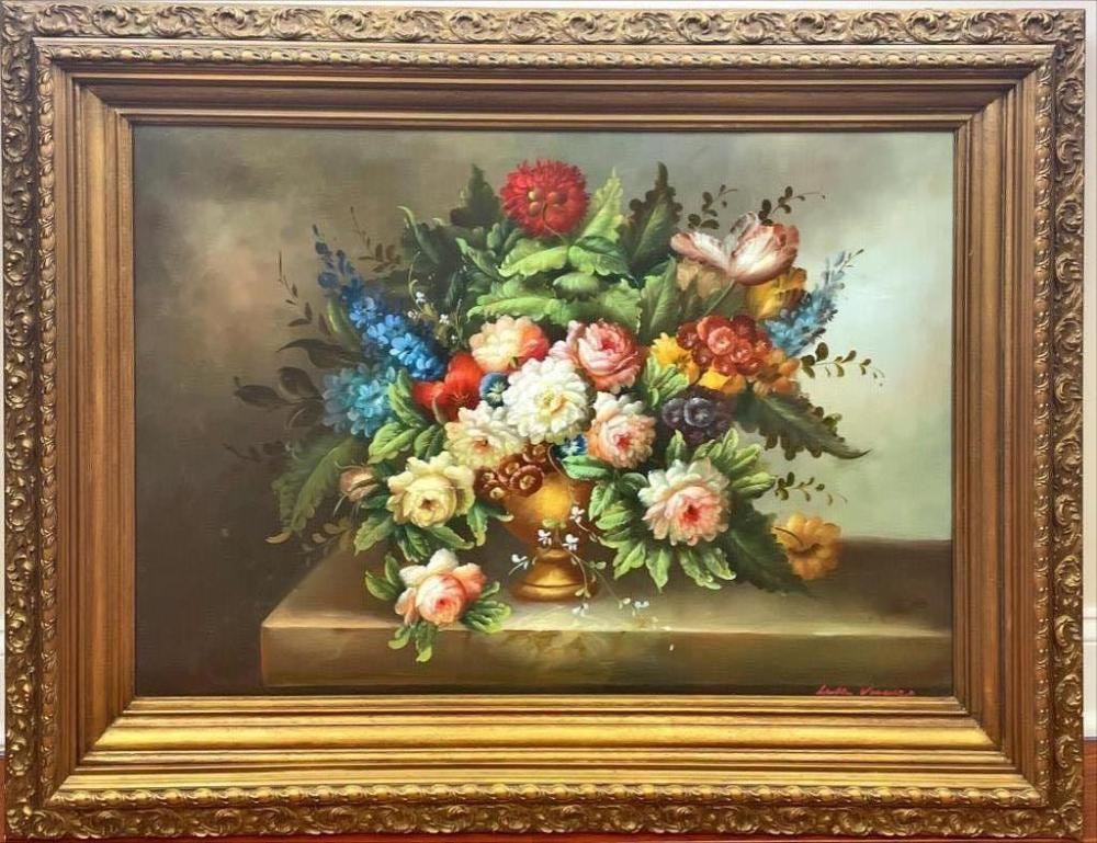 """Floral still life painting. Signed lower right. 33"""" x 46"""" overall."""