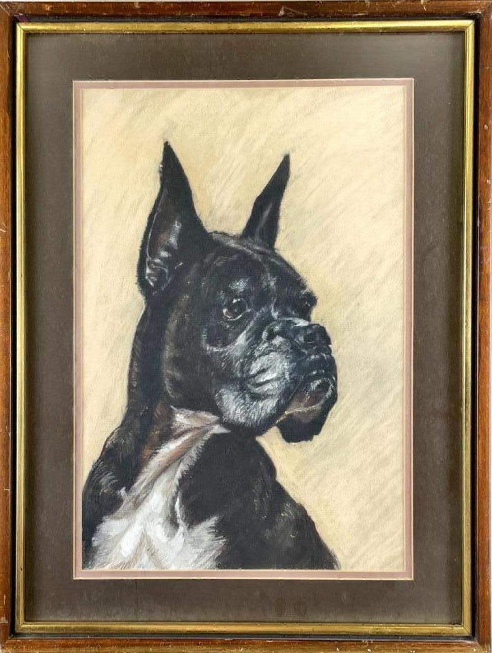 "Framed picture of dog. 17"" x 21"""