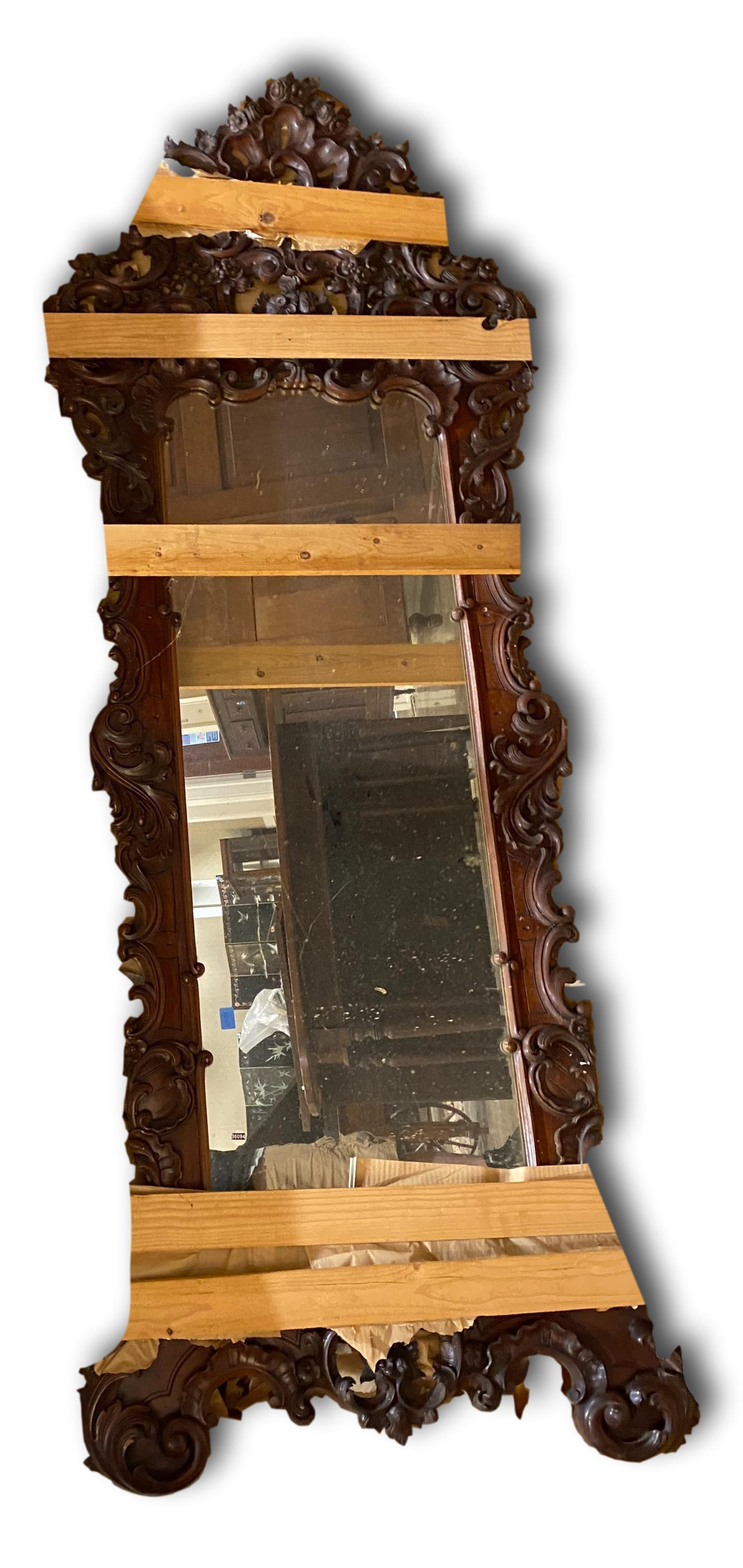 Large Victorian style highly carved mahogany mirror. 9ft 8in x 35in .