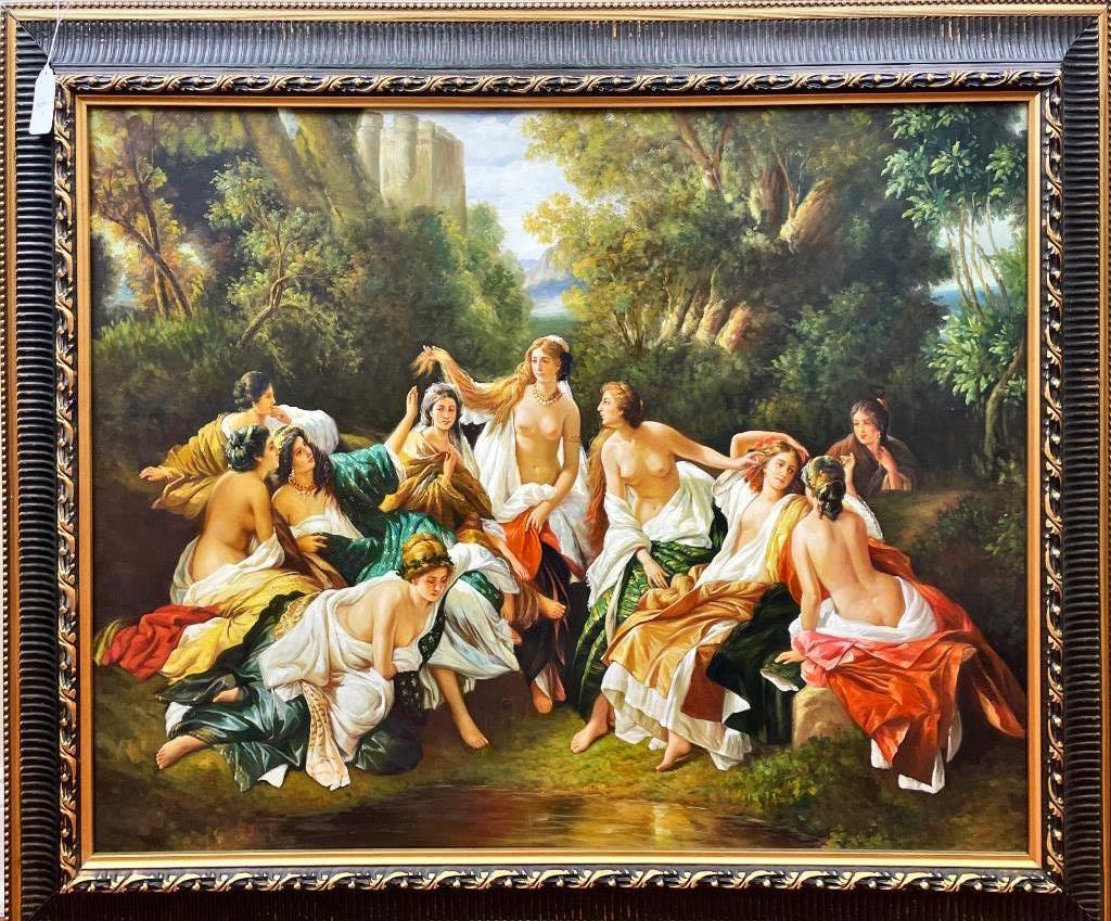 """Framed picture, gathering of women (semi-nude) with fabric. Beautiful, crisp details. nice frame. may be print with paint overlay. 48"""" x 38"""""""