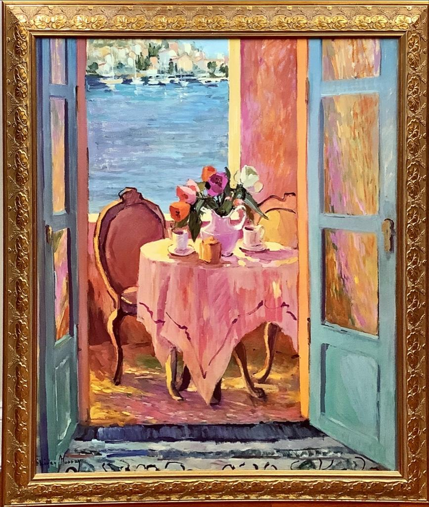 """Painting style print of table by an open window. 41"""" x 38"""""""
