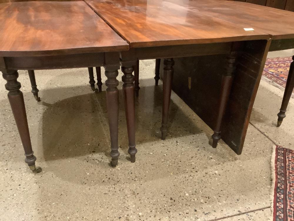 Mahogany Sheraton three piece banquet table, one board tops.