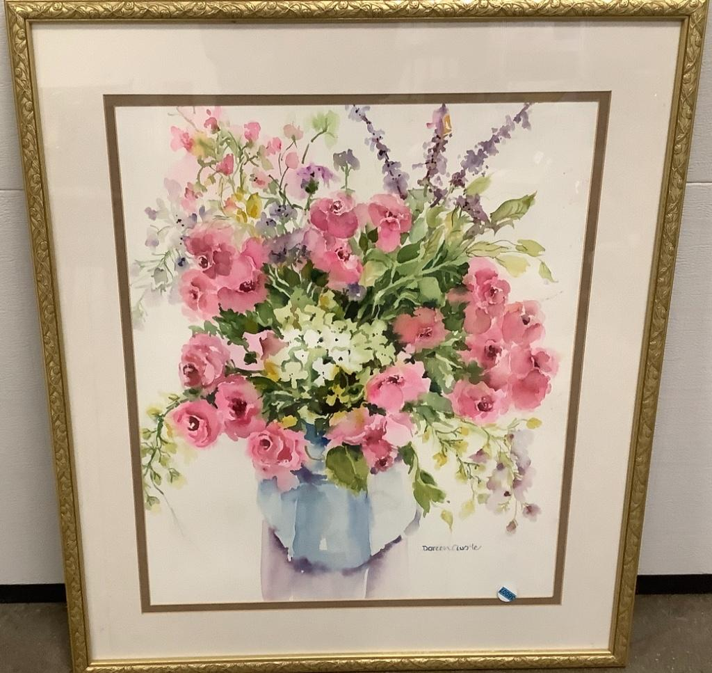 "Floral print with gold frame Daren Currle 29 1/2"" x 33 1/2""."