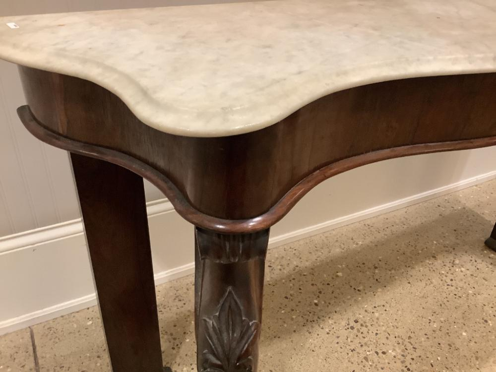 """Early marble top hall stand with ball & claw feet. Some pieces missing from feet. 62"""" x 15.5"""" x 34""""."""