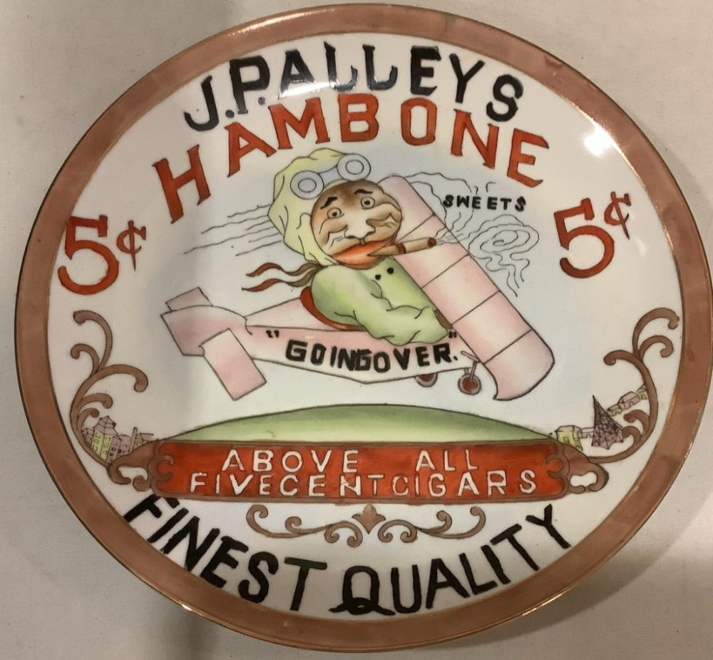 "J.P. Alley's Hambone sweets cigar advertising clock, plate. 11""H"