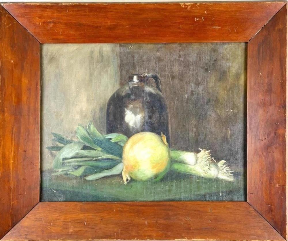 """Oil on board still life with crock, onion, and leeks. 17 1/2"""" x 21"""" overall."""
