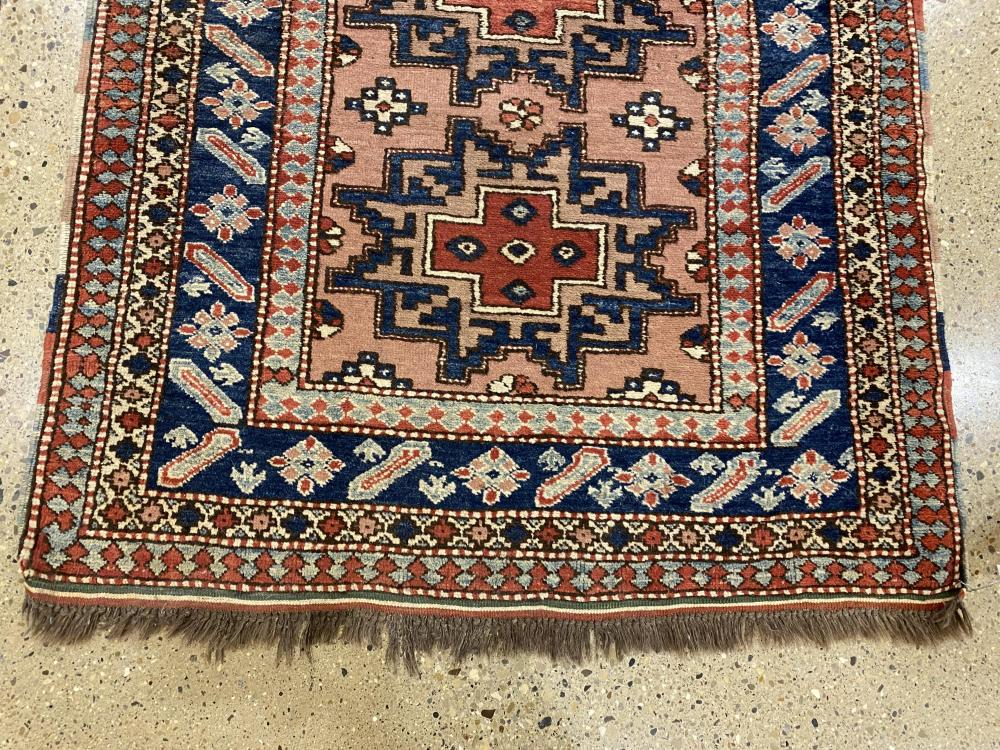 "Oriental rug, Kazak, 3'4"" x 4'2"" . Wear ."
