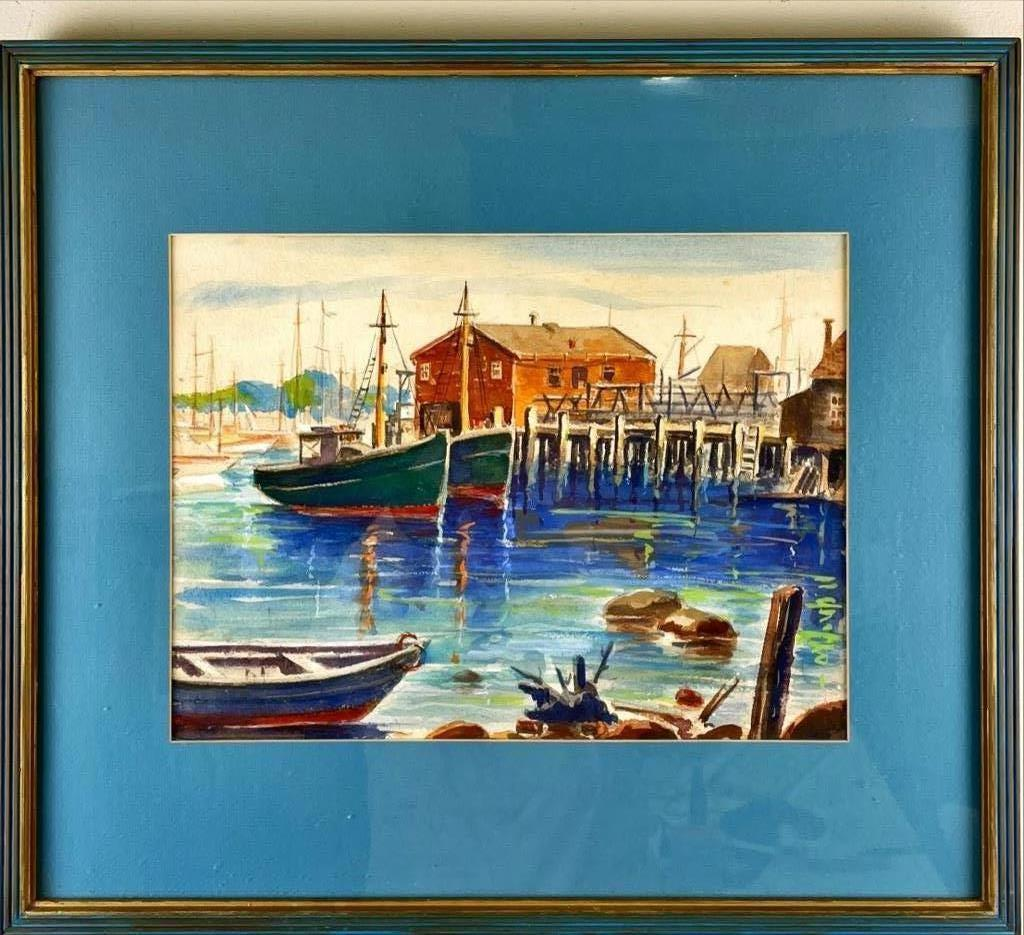 "Unsigned watercolor of harbor scene. 19"" x 22"" overall"