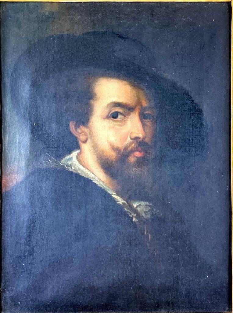 """Unsigned oil on canvas portrait of gentlemen with large hat. Image size 15"""" x 11 1/2"""".Painting needs to be cleaned and the photo with the frame represents it's brightness most accurately"""