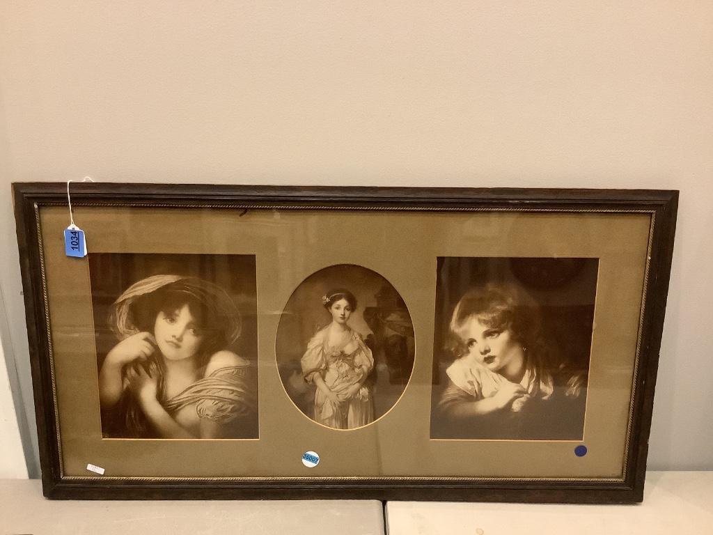 Print of 3 portraits in triple cut mat.