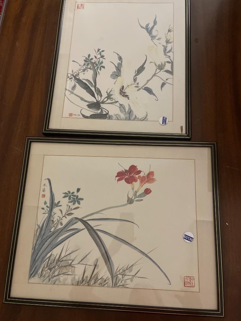 "2 framed Asian florals 16.5"" x 21"""