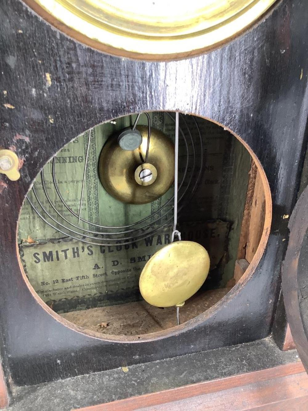 "Mahogany beehive 8 day clock, Seth Thomas 15 1/2""H"