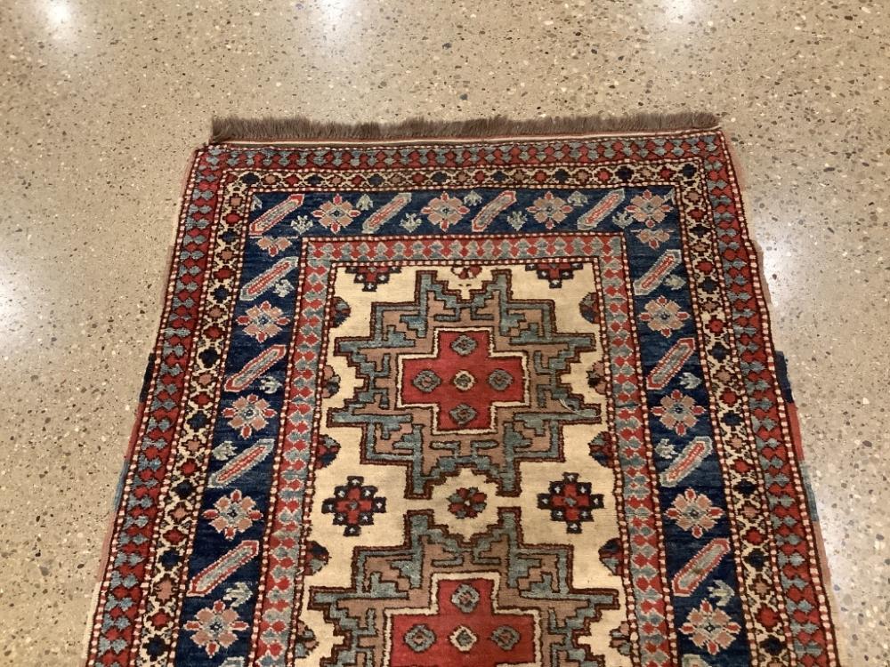 "Oriental rug, Kazak, 3'3"" x 4'6"" . Wear ."