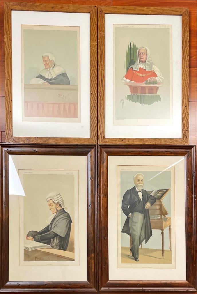 Four framed Vanity Fair prints of judges.