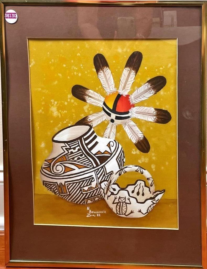 """N. Bowannic Zun, 82 watercolor of Native American/ southwest objects 16 1/2 x 20 1/2"""" overall"""