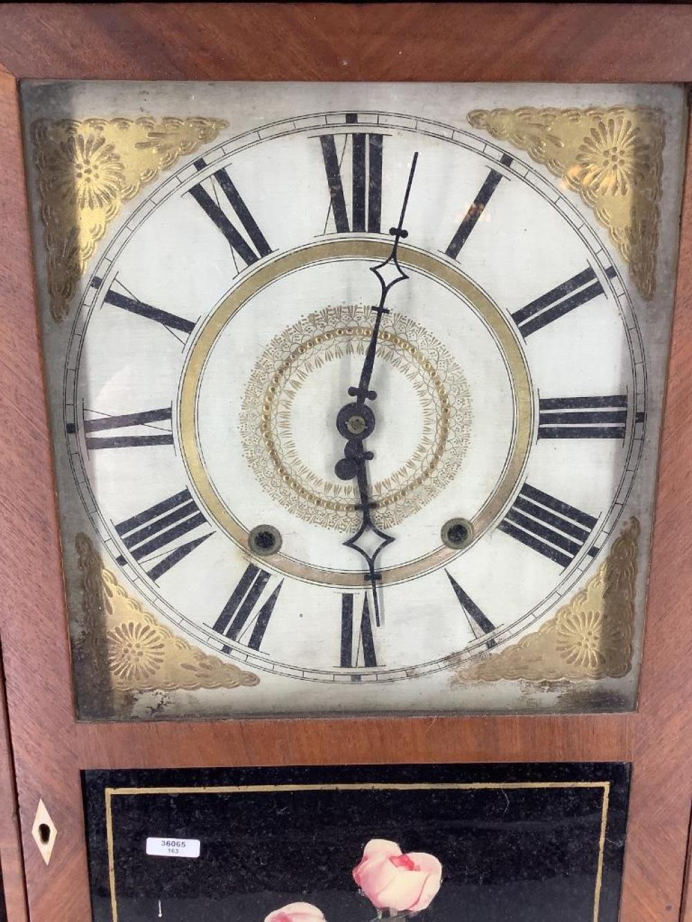 "Orton Preston half pilaster mantle clock missing cornice. Damage to bottom front corners. 32""H"