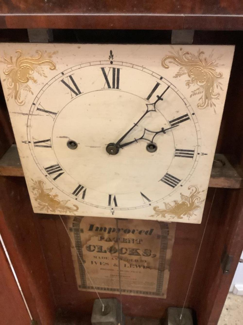 """Ives & Lewis mahogany two and a half decker shelf clock with reeded columns. 36""""H"""