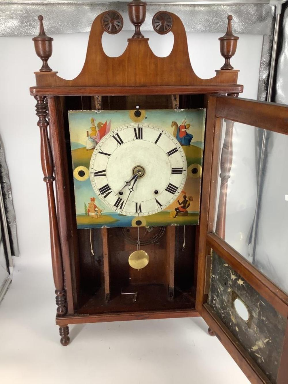 """Pennsylvania pillar and scroll clock, attributed to Allen PA area. 23""""H"""